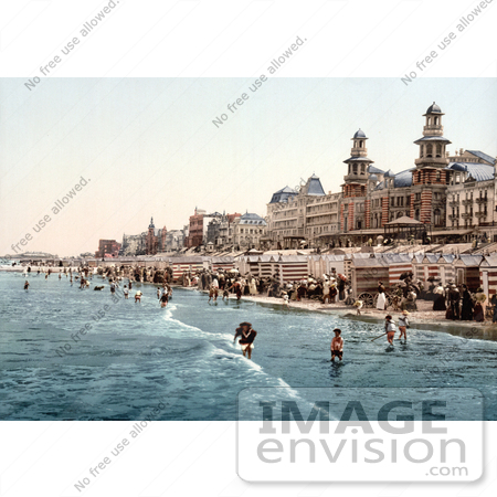 #18466 Photo of the Kursaal Hotel, RVs and People on the Beach, Blankenberghe, Belgium by JVPD