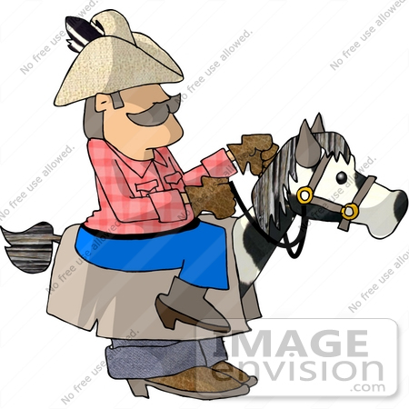 Cowboy Man Riding a Stick Horse Disguised as a Real Horse Clipart ...