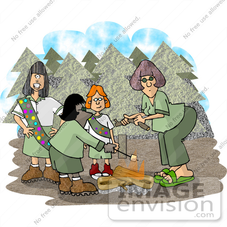 #18525 Girl Scout Troop Roasting Marshmallows on a Campfire in the Woods Clipart by DJArt