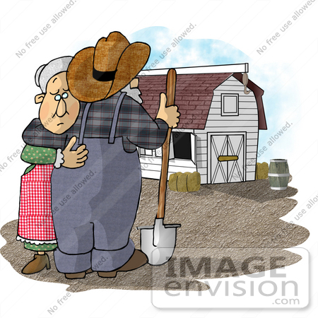 Senior Farmer and Wife Couple Embracing Near a White Stable Barn ...