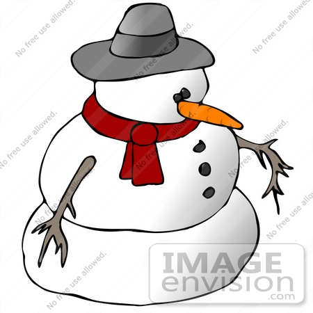 #1853 Clipart Ilustration of a Snowman in a Hat and Scarf by DJArt
