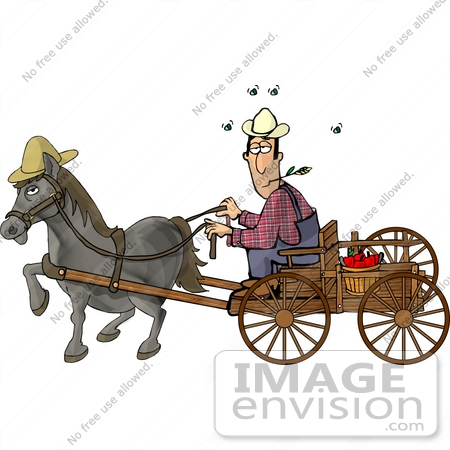 Farmer Man Chewing on Straw While Riding a Horse Drawn Carriage Clipart
