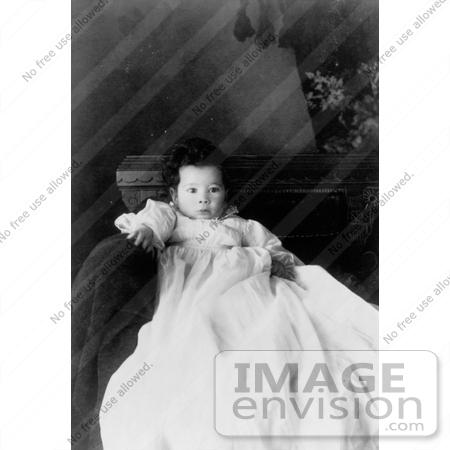 #18568 Photo of an African American Baby in a Christening Gown Prior to a Baptism by JVPD