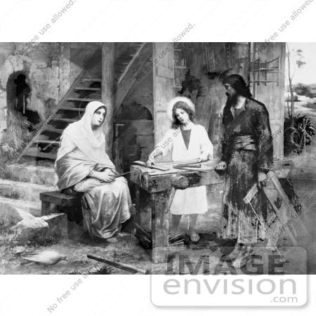 #18589 Photo of Jesus Christ as a Carpenter, Talking to Two Women by JVPD
