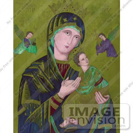 #18600 Photo of Virgin Mary Holding Jesus and Archangels Michael and Gabriel by JVPD