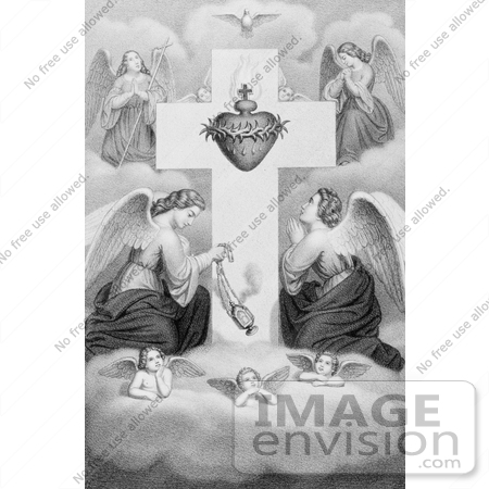 #18622 Photo of Winged Angels and Cherubs in Prayer at the Sacred Heart of Jesus Christ by JVPD