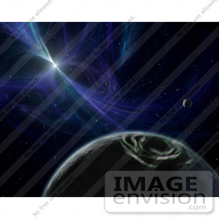 #18655 Stock Photo of a Pulsar Planet System With Twisted Magnetic Fields in Outer Space by JVPD