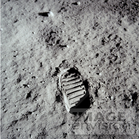 #18658 Stock Photo of the Bootprint of Buzz Aldrin on the Surface of the Moon by JVPD