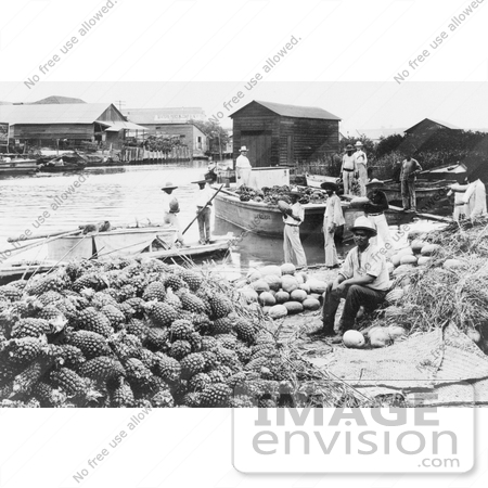 #18703 Black and White Photo of People Near Melons and Pineapples at a Waterfront Market in Tampico, Mexico by JVPD