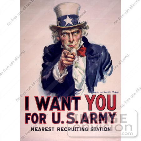 #1871 Uncle Sam - I Want You For US Army by JVPD