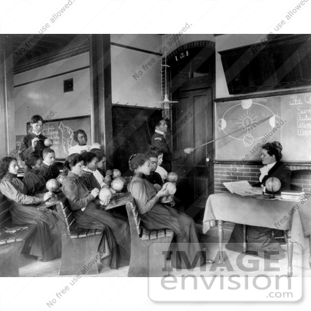 #18782 Photo of a Class of Students at Hampton Institute, Studying Astronomy by JVPD