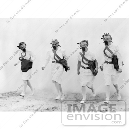 #18817 Photo of Four Female Nurses Walking Through Smoke and Wearing Gas Masks During a Training Drill by JVPD