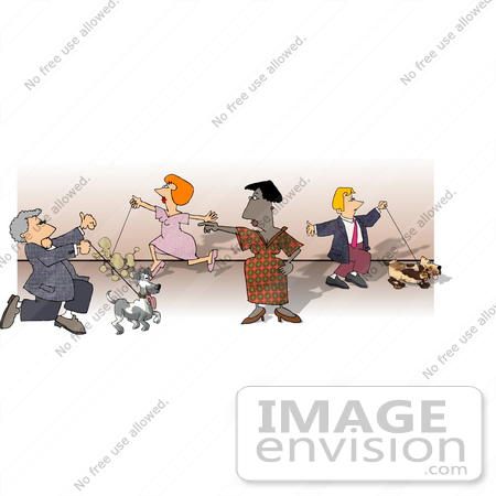 #18832 Woman Directing Owners and Their Dogs at a Dog Show Clipart by DJArt
