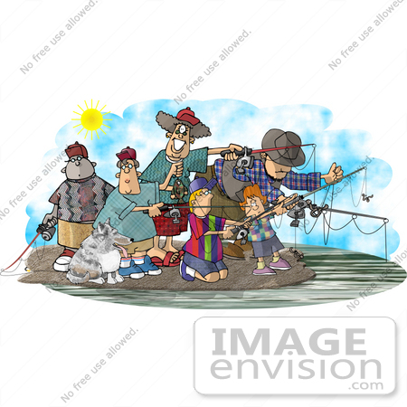 #18839 Group of People and Their Dog Fishing Clipart by DJArt