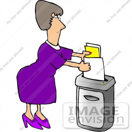 #18843 Woman Shredding Documents in an Office Clipart by DJArt