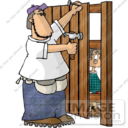 Fence Man Nailing Wooden Boards Clipart By DJArt - Cartoon fence clip art
