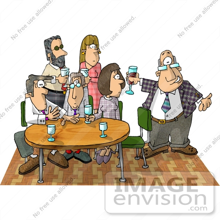 #18859 Two Women and Four Men at an Office Party Clipart by DJArt