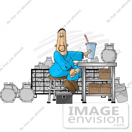 #18863 Man in Coveralls Sitting at a Counter While Repairing Clipart by DJArt
