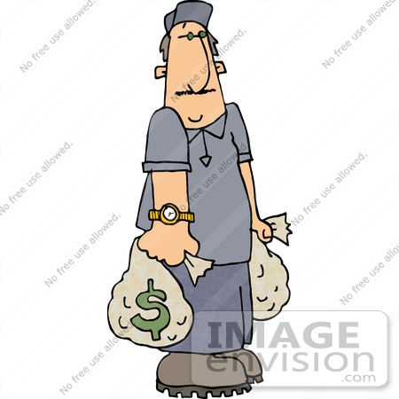 #18867 Man Carrying Two Money Bags With Dollar Symbols Clipart by DJArt