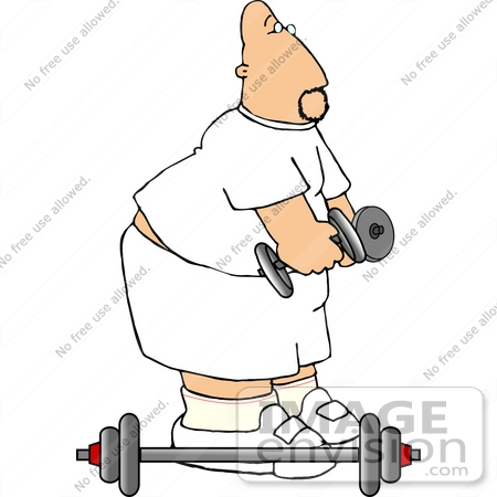 #18873 Chubby Caucasian Man Using Barbells and Dumbbells While Exercising at the Gym Clipart by DJArt