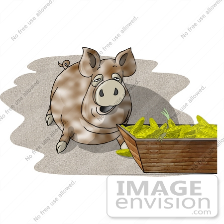 #18878 Fat Farm Pig Eating Clipart by DJArt