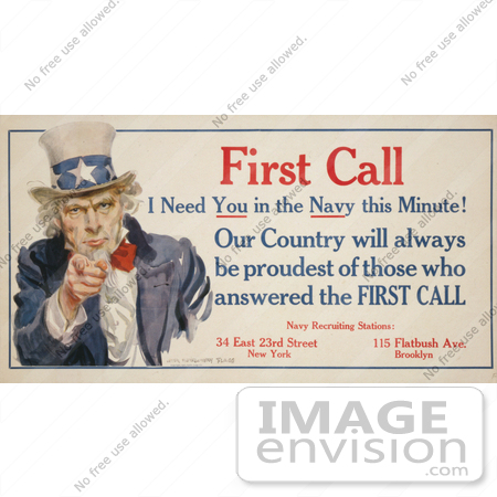 #1888 First Call I Need You in the Navy this Minute! Uncle Sam by JVPD