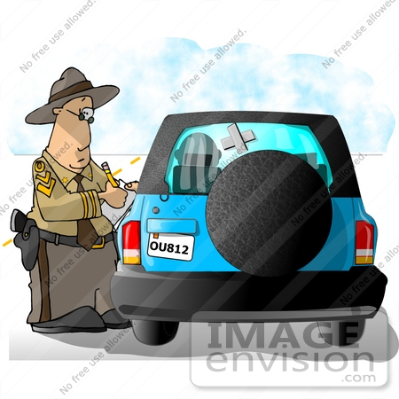 #18886 Highway Patrol Police Officer Writing a Citation or Ticket to a Driver in a Blue SUV Clipart by DJArt