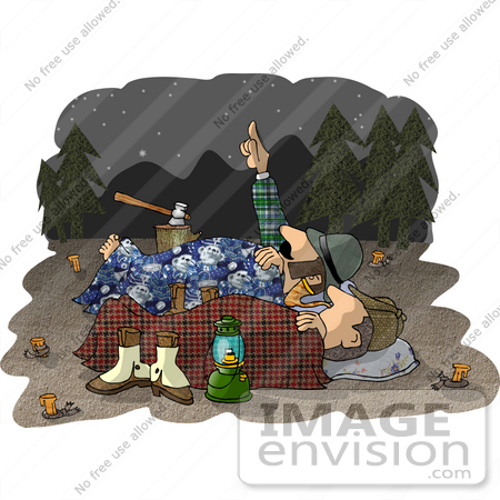 #18892 Two Male Campers Sleeping Out Under the Stars Clipart by DJArt