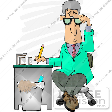 #18898 Gray Haired Male Doctor in a Green Jacket, Writing Notes on a Patient Clipart by DJArt