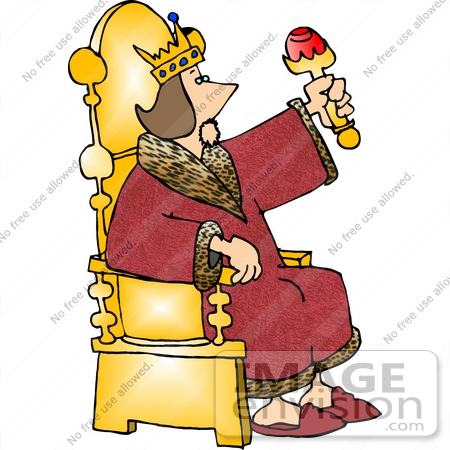 #18899 King Sitting on a Golden Throne, Wearing a Red Robe Clipart by DJArt