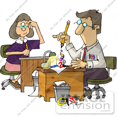 #18916 Accountant Preparing Paperwork With Secretary Watching Clipart by DJArt