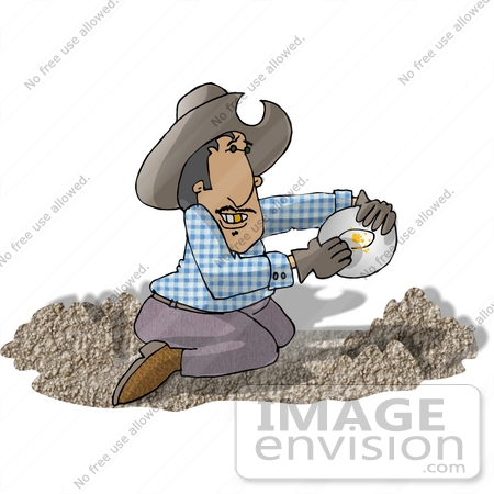 #18921 Man With a Gold Tooth, Kneeling While Panning For Gold Clipart by DJArt