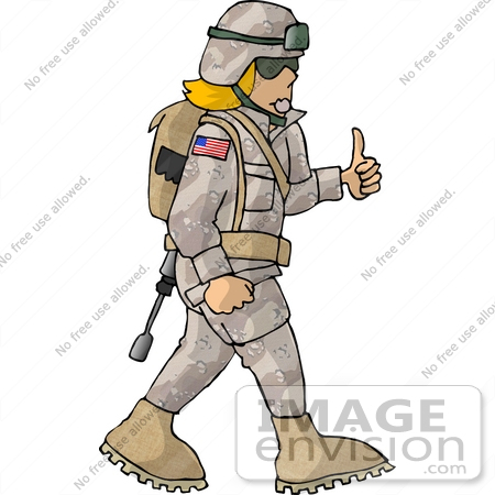 #18943 Female Soldier Giving the Thumbs Up Clipart by DJArt