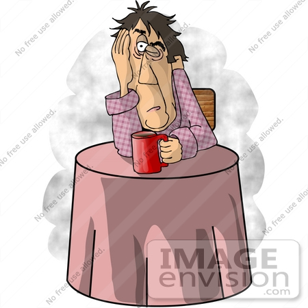#18945 Exhausted Man at a Table, Drinking Coffee Clipart by DJArt
