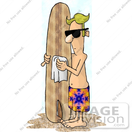 #18956 Male Surfer Dude Wiping Down His Surfboard on the Beach Clipart by DJArt