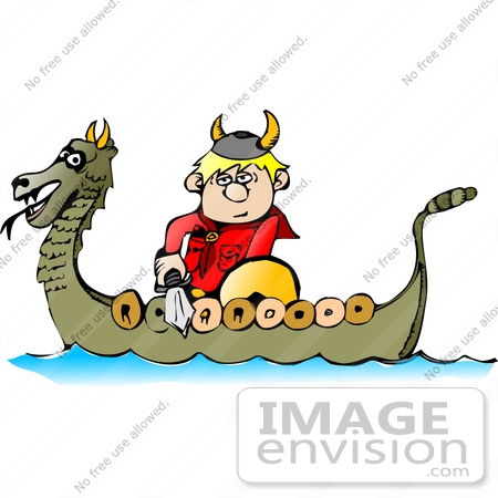 #18957 Viking Boy With a Sword Riding in a Dragon Boat Clipart by DJArt