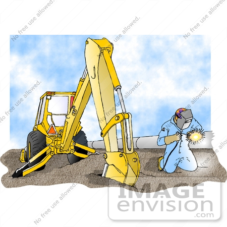 Welding by a backhoe and pipes at a construction site clipart by djart