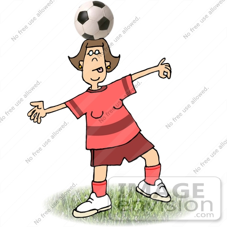 #18976 Talented Female Soccer Player Balancing a Soccer Ball on Her Head