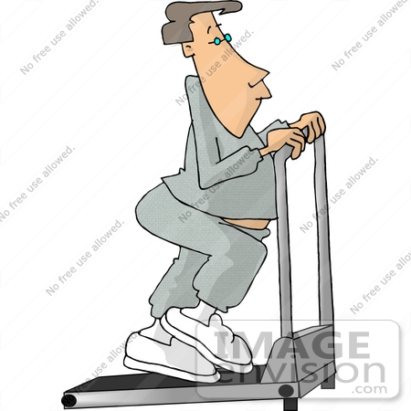 Caucasian Man Doing Cario Exercise on a Treadmill in a Gym Clipart ...