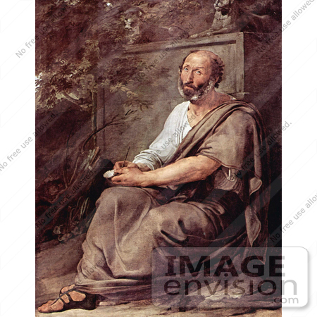 #19014 Photo of Greek Philosopher Aristotle Seated Against a Wall by Francesco Hayez by JVPD