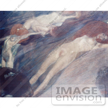 #19043 Photo of Nude Women in Water With a Fish, the Blood of Fish by Gustav Klimt by JVPD