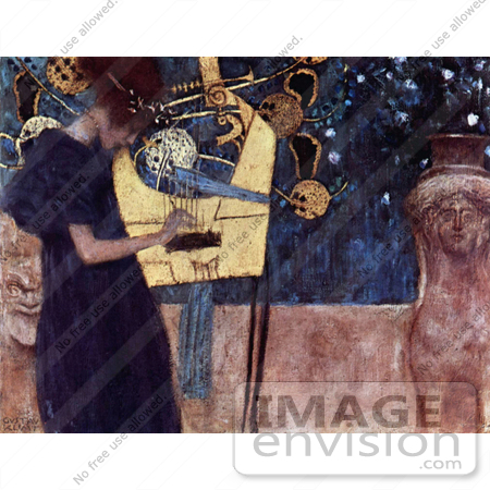 #19078 Photo of a Woman Playing an Instrument, Musique, Die Musik, Music or The Music by Gustav Klimt by JVPD