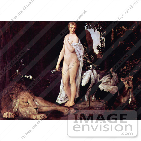 #19084 Photo of a Nude Woman by a Sleeping Lion and Birds by Gustav Klimt by JVPD