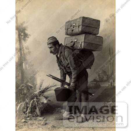 Photo of a turkish porter man carrying luggage on his back for Men a porter