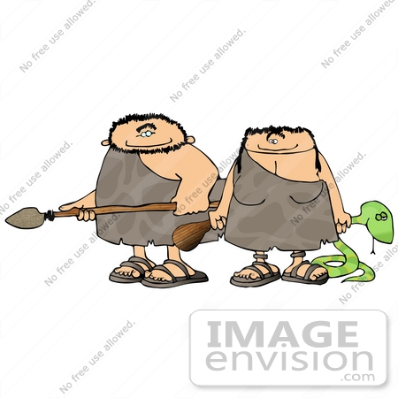 #19107 Caveman and Cavewoman With a Spear, Club and a Snake Clipart by DJArt