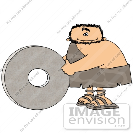 #19108 Cave Man With a Stone Wheel Invention Clipart by DJArt