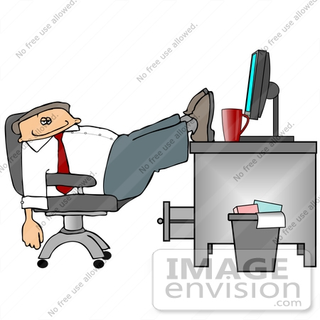 #19110 Business Employee Man Being Lazy, Slouching in His Chair With His Feet up on His Desk at the Office Clipart by DJArt