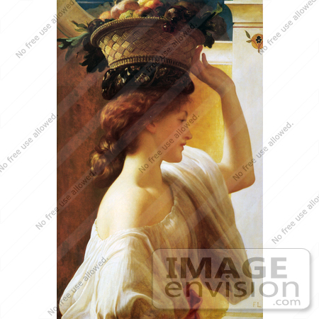 #19136 Photo of a Girl Carrying a Basket of Fruit on Her Head, by Frederic Lord Leighton by JVPD