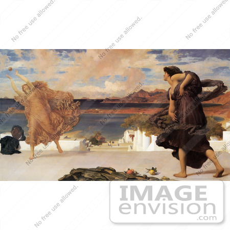 #19138 Photo of Greek Girls Playing at Ball by Frederic Lord Leighton by JVPD
