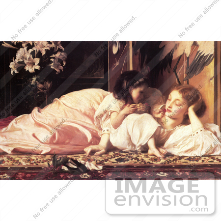 #19140 Photo of a Daughter Feeding Her Mother Fruit, Mother and Child by Frederic Lord Leighton by JVPD